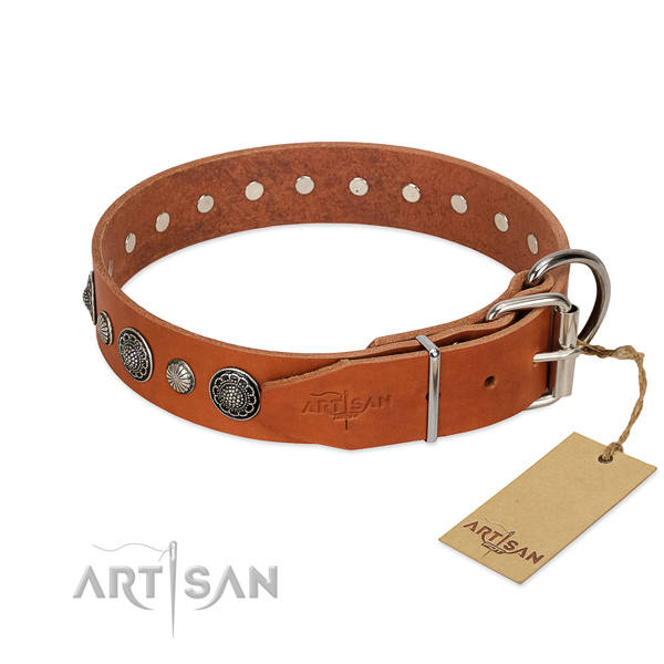 Reliable full grain leather dog collar with rust-proof traditional buckle
