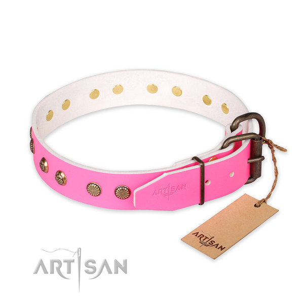 Strong D-ring on natural genuine leather collar for your stylish four-legged friend