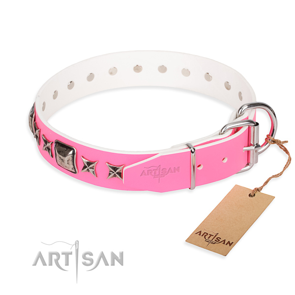 Top notch decorated dog collar of full grain natural leather