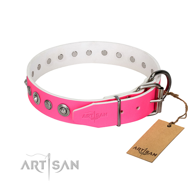 Fine quality natural leather dog collar with exceptional decorations