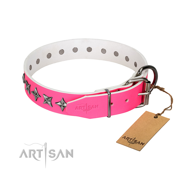 Best quality full grain natural leather dog collar with awesome adornments