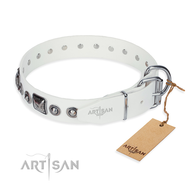 Gentle to touch leather dog collar handmade for easy wearing