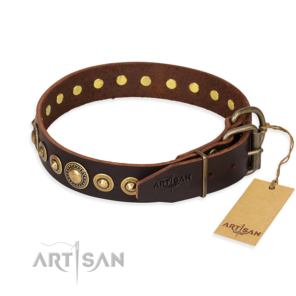 Best quality genuine leather dog collar made for handy use