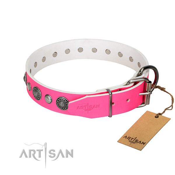 Strong natural leather dog collar with corrosion resistant D-ring