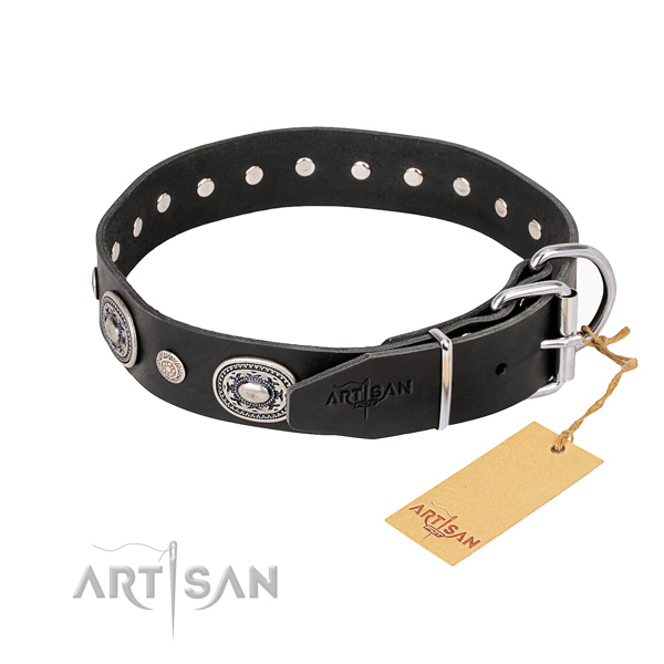 Durable full grain genuine leather dog collar crafted for everyday use