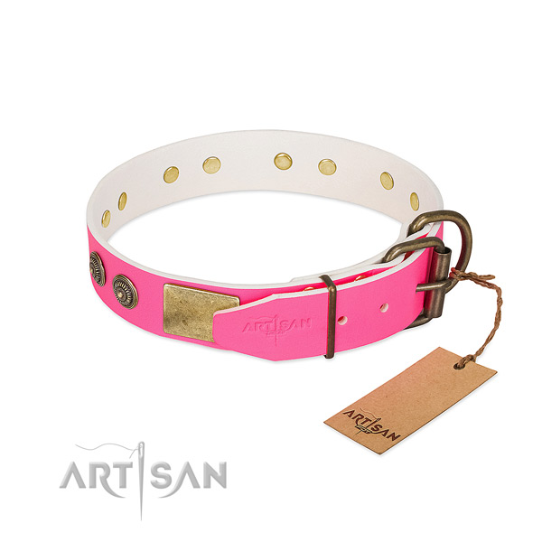 Corrosion resistant D-ring on natural genuine leather collar for fancy walking your canine