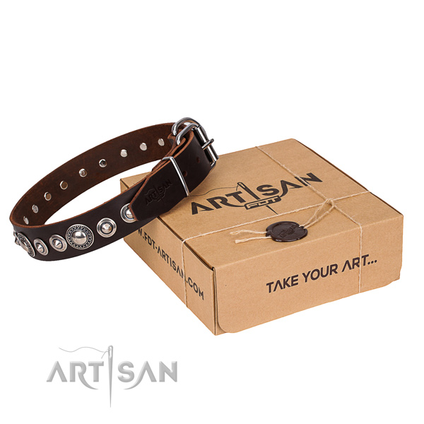 Full grain leather dog collar made of gentle to touch material with corrosion resistant buckle