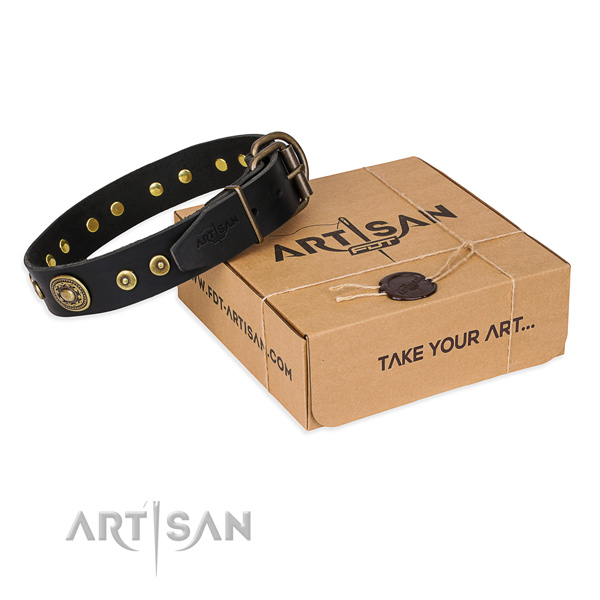 Leather dog collar made of soft to touch material with durable hardware