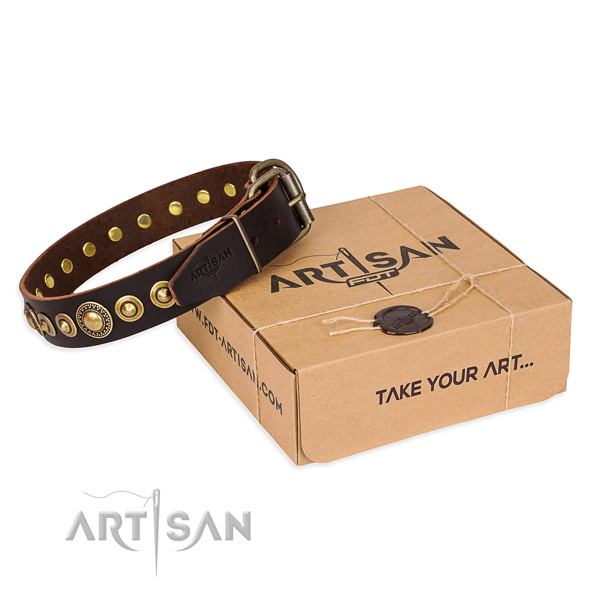 Reliable leather dog collar handmade for daily use