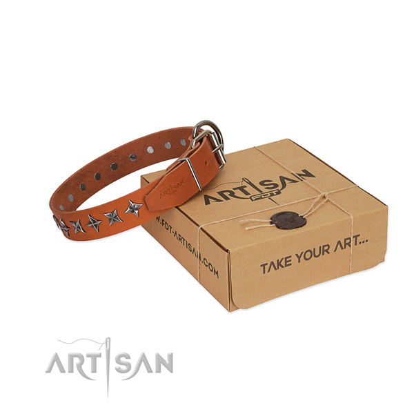 Comfy wearing dog collar of durable natural leather with adornments
