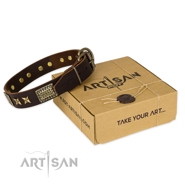 Strong hardware on full grain natural leather collar for your attractive canine