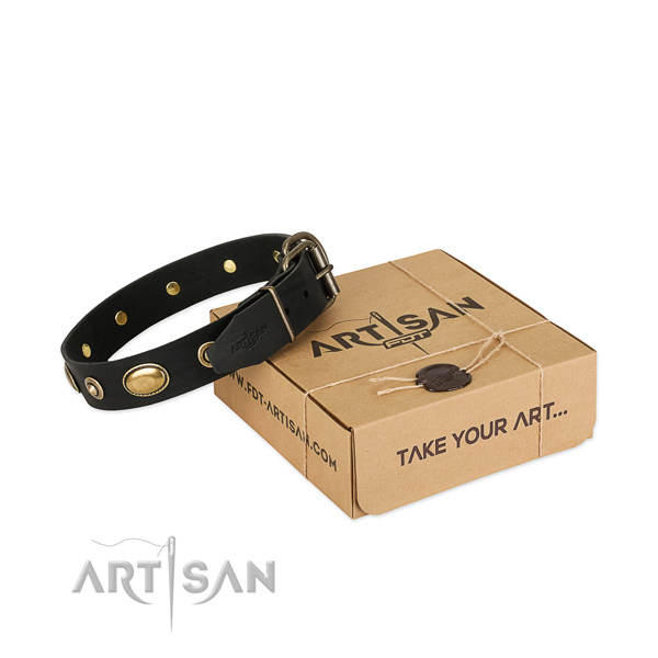Corrosion proof hardware on genuine leather dog collar for your four-legged friend