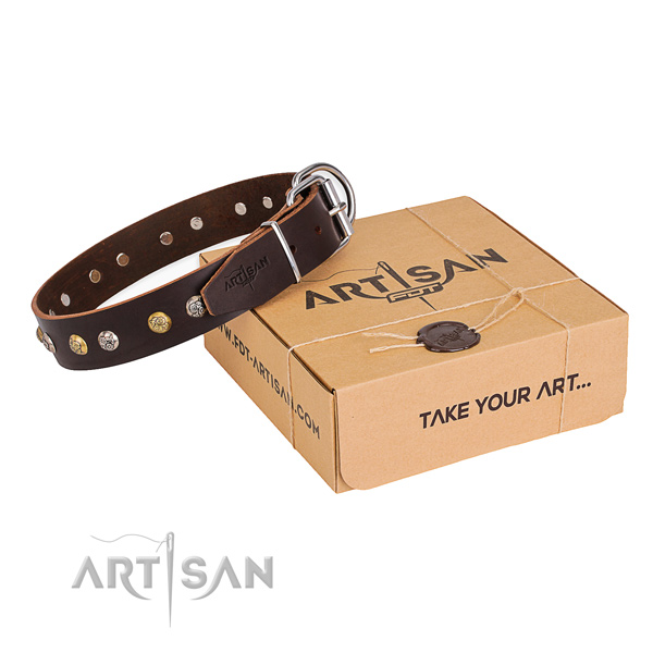 Top rate natural genuine leather dog collar handcrafted for walking