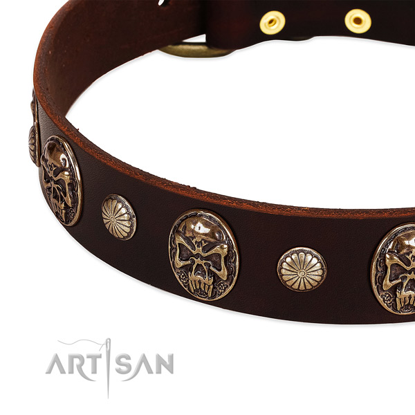 Genuine leather dog collar with studs for handy use