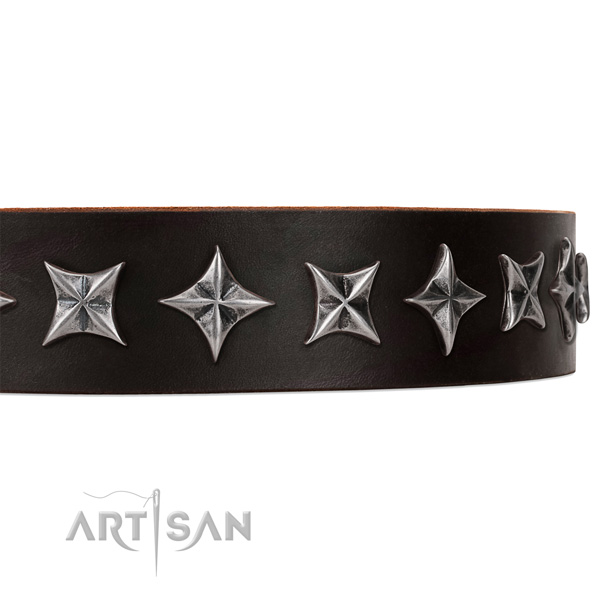 Daily walking studded dog collar of best quality genuine leather