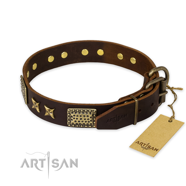 Corrosion proof hardware on natural genuine leather collar for your impressive four-legged friend