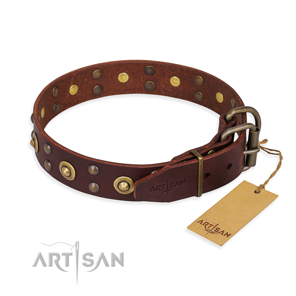 Corrosion proof hardware on full grain leather collar for your attractive pet