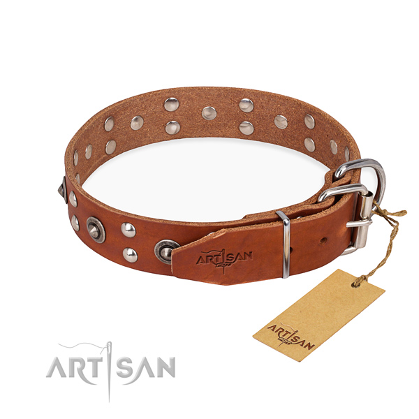 Corrosion proof fittings on full grain natural leather collar for your stylish four-legged friend