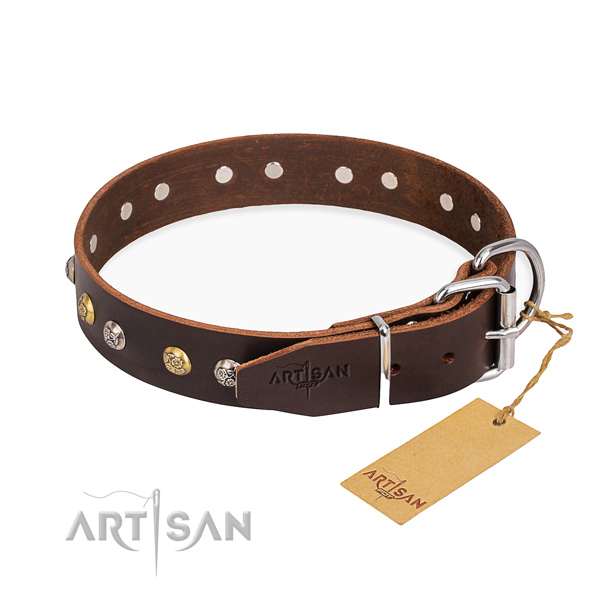 Gentle to touch full grain leather dog collar created for everyday use