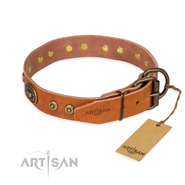Natural genuine leather dog collar made of soft material with strong adornments