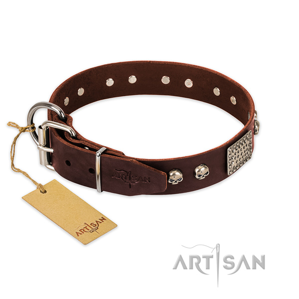 Strong studs on comfortable wearing dog collar