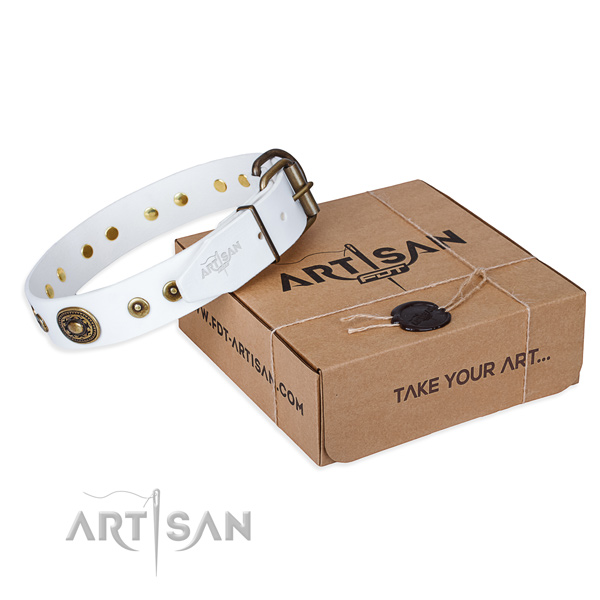Full grain leather dog collar made of soft material with rust resistant fittings