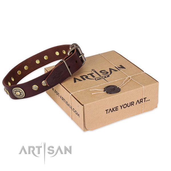 Strong hardware on full grain natural leather dog collar for handy use