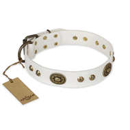 """Adorable Dream"" FDT Artisan White Leather Bulldog Collar"