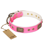 """Frenzy Candy"" FDT Artisan Decorated Pink Leather Bulldog Collar"