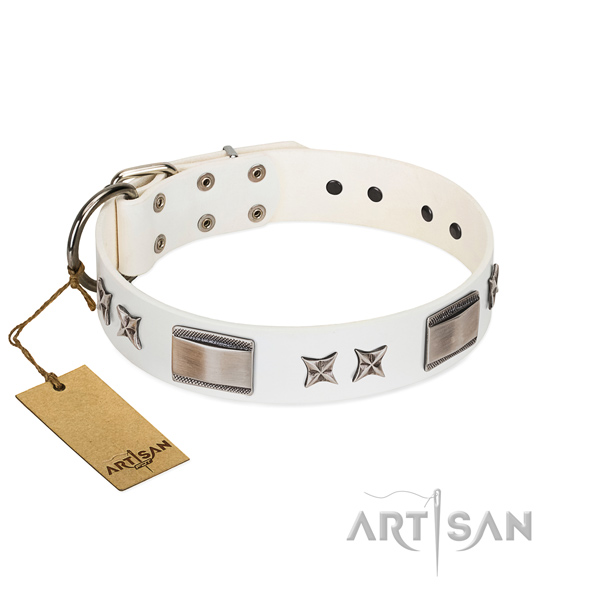 Adjustable dog collar of leather