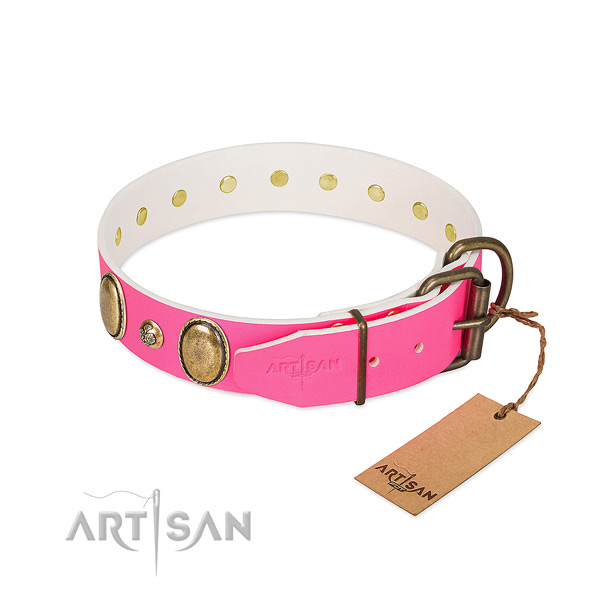 Daily use soft to touch genuine leather dog collar