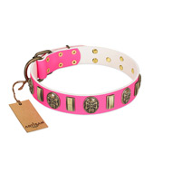 """Perilous Beauty"" Pink FDT Artisan Leather Bulldog Collar with Small Plates and Skulls"