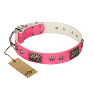 """Fashion Skulls"" FDT Artisan Pink Leather Bulldog Collar with Old Silver Look Plates and Skulls"