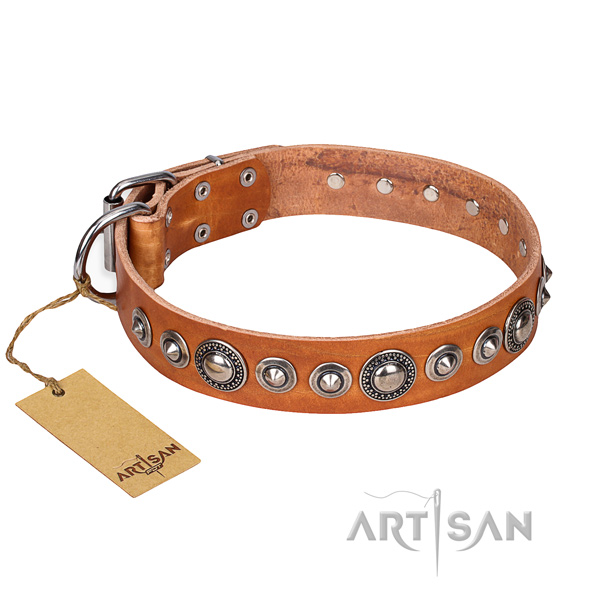 Natural genuine leather dog collar made of gentle to touch material with rust-proof D-ring