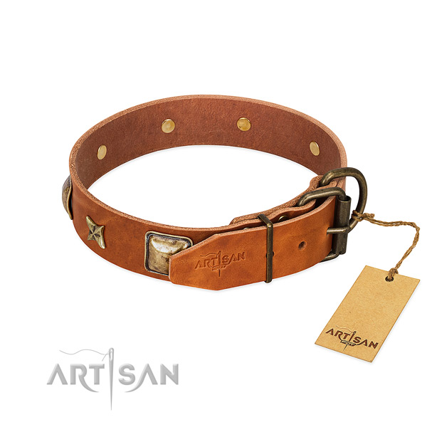 Full grain natural leather dog collar with corrosion resistant hardware and studs