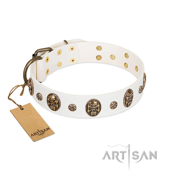 Convenient full grain leather collar for your doggie