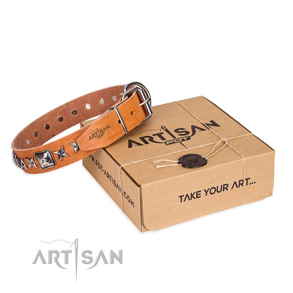 Easy wearing full grain genuine leather dog collar with adornments