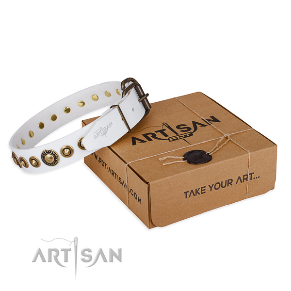 Reliable full grain natural leather dog collar crafted for handy use