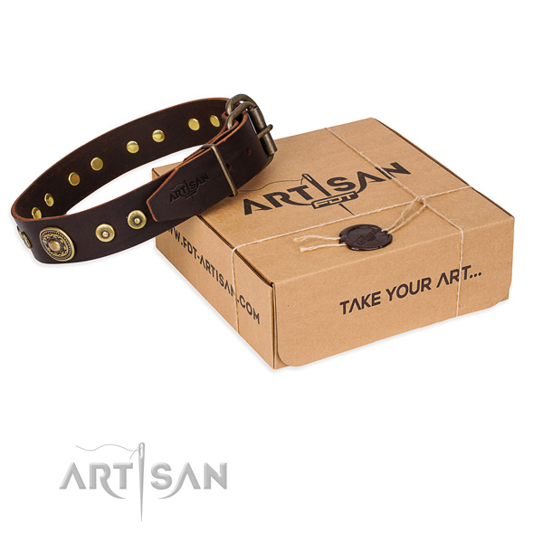 Full grain natural leather dog collar made of best quality material with strong D-ring
