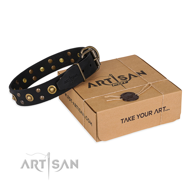 Corrosion proof hardware on full grain genuine leather collar for your lovely pet