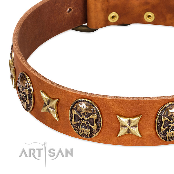 Rust-proof D-ring on full grain genuine leather dog collar for your canine