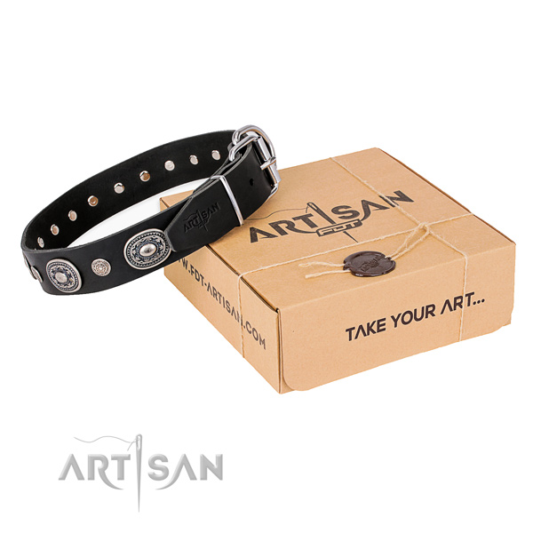 Flexible full grain natural leather dog collar handcrafted for easy wearing