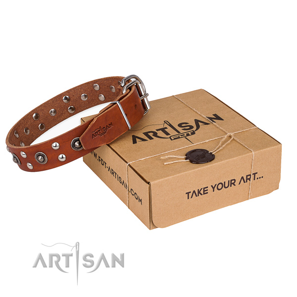 Rust resistant D-ring on full grain natural leather collar for your impressive doggie