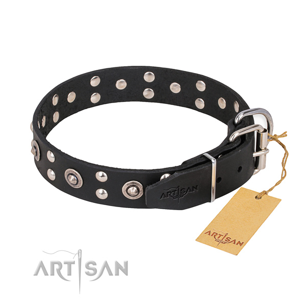 Strong traditional buckle on full grain natural leather collar for your handsome doggie