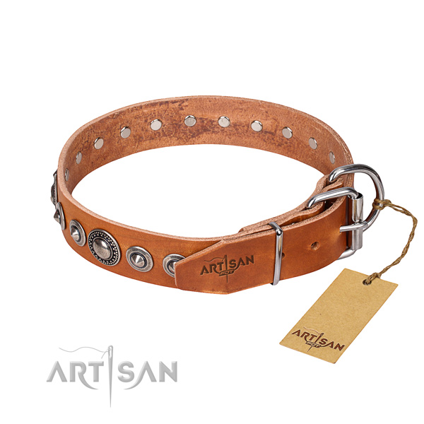 Genuine leather dog collar made of quality material with durable embellishments