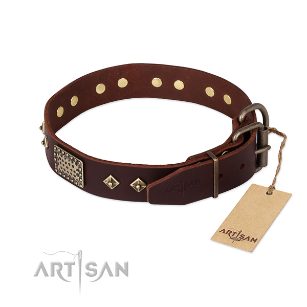 Genuine leather dog collar with strong traditional buckle and decorations