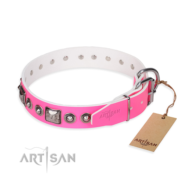 Gentle to touch leather dog collar handmade for comfortable wearing
