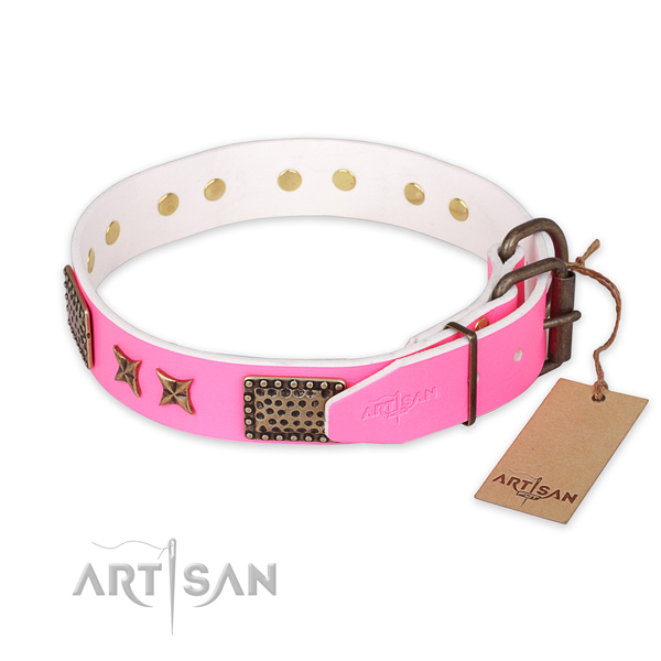 Corrosion resistant buckle on full grain leather collar for your stylish pet