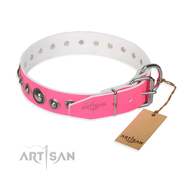 Genuine leather dog collar made of gentle to touch material with rust resistant embellishments