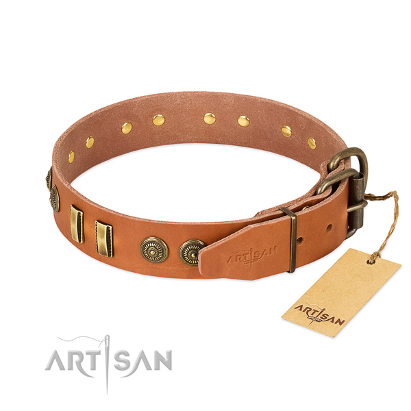 Corrosion proof D-ring on full grain natural leather dog collar for your canine